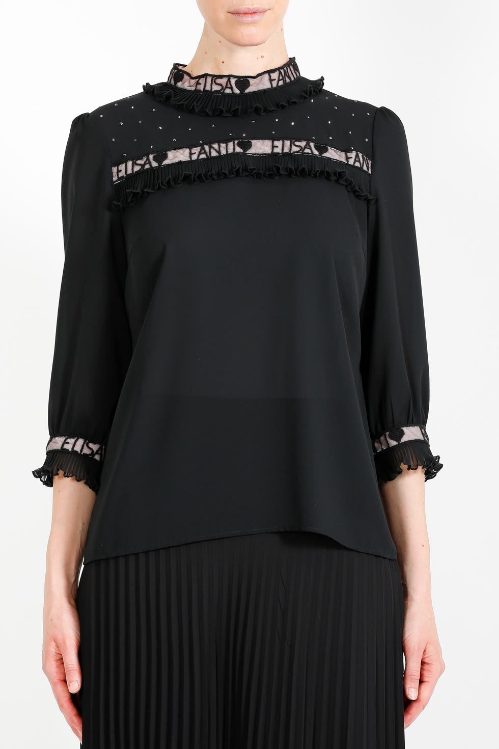 ELISA FANTI FW 2020/21 SERIE EFRomanticFlower BLUSA IN GEORGETTE E STRASS