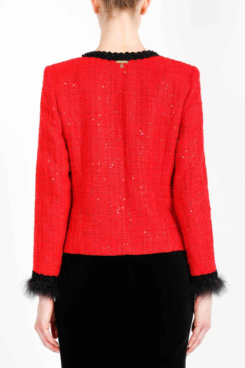 ELISA FANTI FW 2020/21 SERIE EFIconicRoses GIACCA MONOPETTO IN TWEED CON PAILETTES