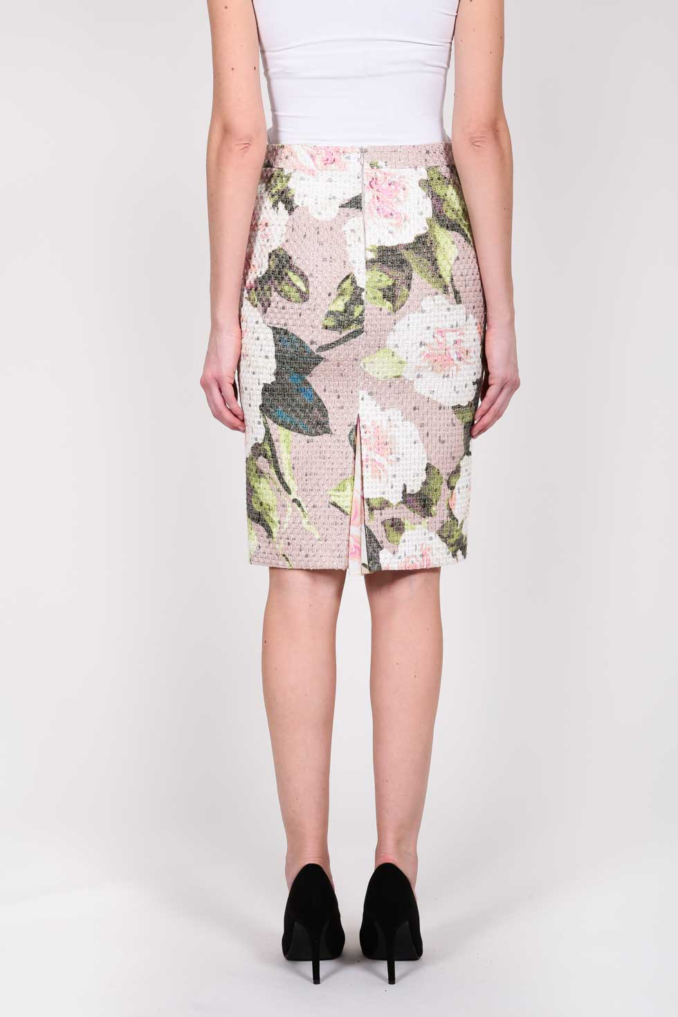 ELISA FANTI S/S 2021 SERIE EFDreamingFlowers GONNA MIDI A TUBINO IN TWEED CON STAMPA FIORI