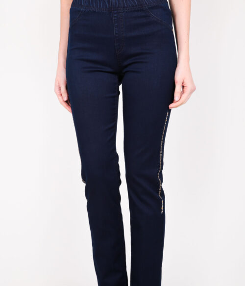 ELISA FANTI S/S 2021 SERIE EFCruise JEGGINGS IN DENIM E STRASS