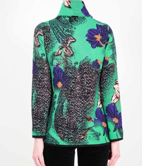 ELISA FANTI F/W 21/22 SERIE Tweed&Creed GIACCA MONOPETTO IN JACQUARD CON STAMPA FLOREALE E STRASS