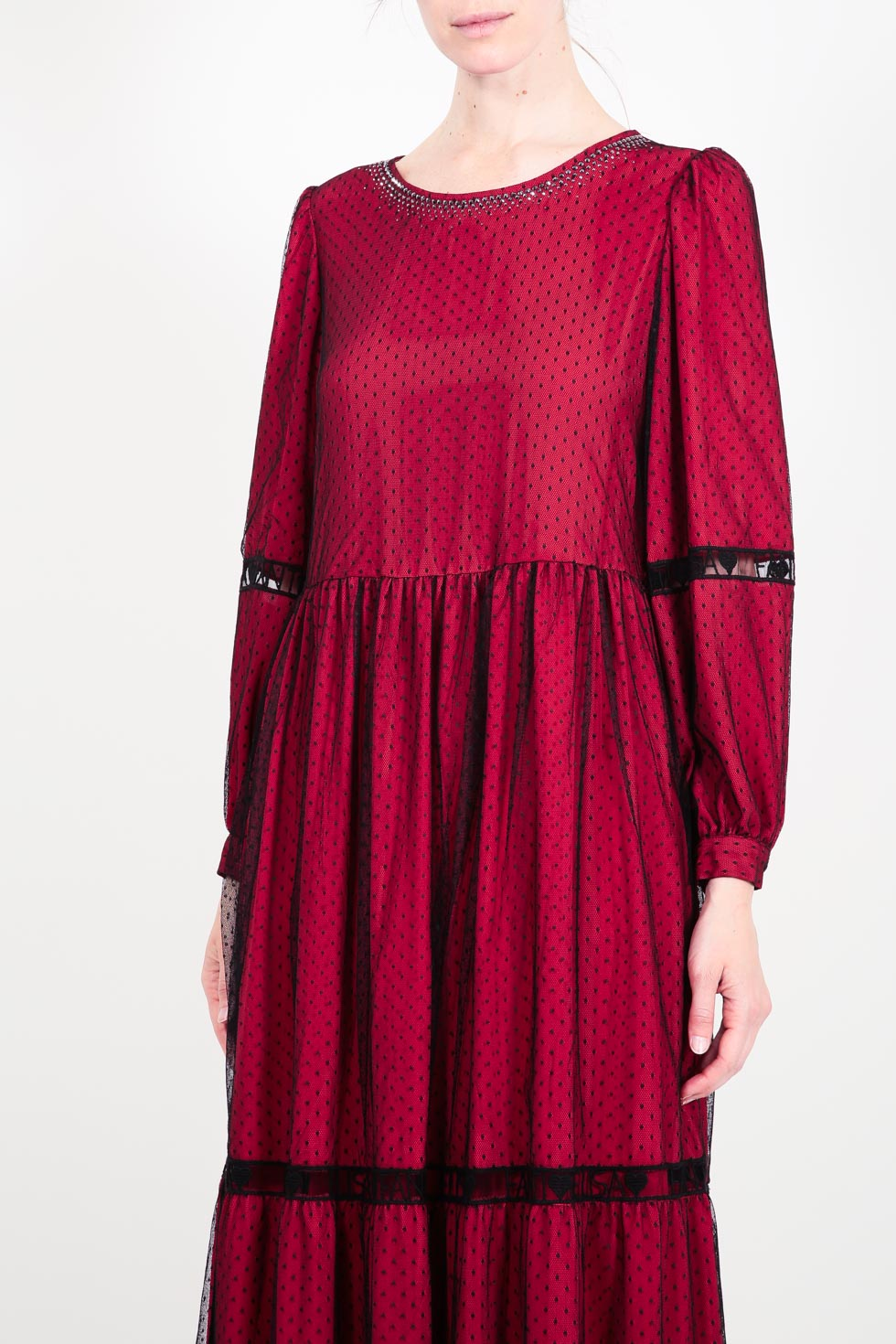 ELISA FANTI F/W 21/22 SERIE ForeveRed ABITO LUNGO IN TULLE PLUMETISSE E STRASS
