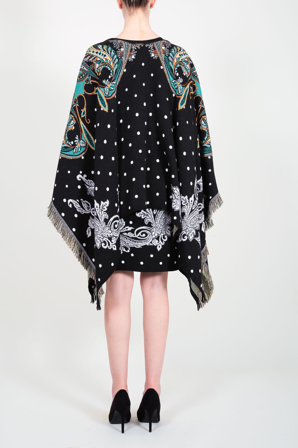ELISA FANTI F/W 21/22 SERIE Gritty Chic PONCHO IN JAQUARD CON STAMPA CASHMERE